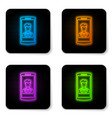 glowing neon smartphone with contact on screen vector image vector image