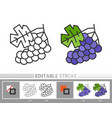 grapes linear icon coloring page vector image vector image