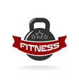 Gym fitness weight logo template with ribbon for vector image vector image