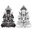 hand-drawn sitting buddha meditating in lotus pose vector image vector image
