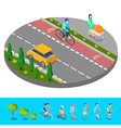 Isometric City Bike Path with Bicyclist Footpath vector image vector image