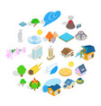 land icons set isometric style vector image vector image