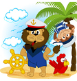 lion captain and monkey sailor vector image vector image