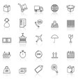 Logistics line icons with reflect on white vector image vector image