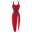 long red dress with a blue belt on white vector image vector image