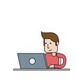 man using laptop computer icon image vector image