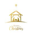 merry christmas jesus in manger star golden vector image vector image