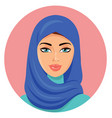 muslim young beautiful arab woman in a blue hijab vector image vector image