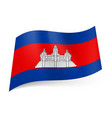 national flag of cambodia white temple on red vector image vector image