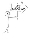 person or businessman holding 10 or ten percent vector image
