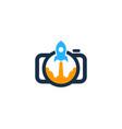 rocket camera logo icon design vector image