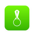 round medal with ribbon icon digital green vector image