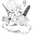 Santa Claus with globe vector image vector image