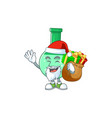 santa green chemical bottle with sacks gifts vector image vector image
