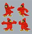 set cartoon funny cardinal bird vector image