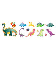 set cute colorful dinosaurs and colorful kid vector image