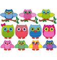 Set of eleven ornamental cartoon owls vector image vector image