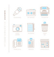set of press icons and concepts in mono thin line vector image vector image
