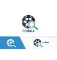 soccer and loupe logo combination ball and vector image vector image