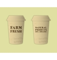 Stylish Farm Fresh paper cups template Mock up vector image vector image