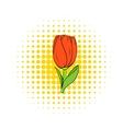 Tulip flower icon comics style vector image