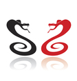 Two silhouettes of snakes in the attack position vector image vector image