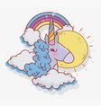 unicorn blue hair sun rainbow fantasy magic vector image