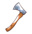 wood chopping axe camping hand tool and equipment vector image