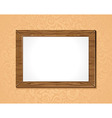 wooden frame with white background on the wall vector image