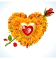 yellow Roses in the shape of heart vector image vector image
