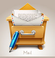 wooden drawer for mail icon vector image