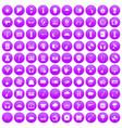 100 music festival icons set purple vector image vector image