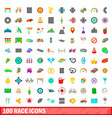 100 race icons set cartoon style vector image vector image