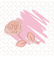 a pencil stroke and rose with pattern heart-shaped vector image vector image