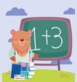 back to school bear chalkboard books notepad vector image vector image
