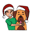 boy and dog with christmas hats cartoon vector image