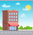 building with a restaurant or a storefront on the vector image vector image