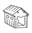 cardboard pet house icon doodle hand drawn vector image