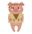 cartoon pig indian a cute vector image vector image
