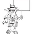 Cartoon tourist holding a sign vector image vector image