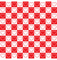 checkered pattern with hearts vector image vector image