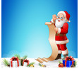 christmas background with santa read reward list vector image vector image