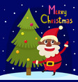 christmas greeting card with cartoon african santa vector image