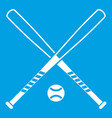 crossed baseball bats and ball icon white vector image vector image