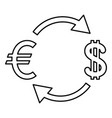 currency exchange icon black color flat style vector image vector image