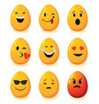 decorative smiley eggs for happy easter vector image vector image