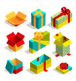 different christmas box for gifts isometric vector image vector image