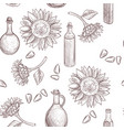 drawing seamless pattern with sunflower oil vector image