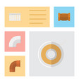 flat icon pipeline set of iron plastic pipe and vector image