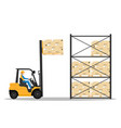 forklift with man driving in the warehouse vector image vector image